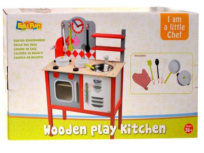 Duża drewniana kuchnia dla dzieci + garnki ZA1411  Zabawki dla dzieci  agd