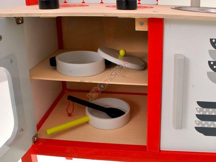 Duża drewniana kuchnia dla dzieci + garnki ZA1411   -> Kuchnia Drewniana Dla Dziecka